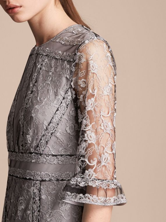 Floral Lace Tulle Dress Silver