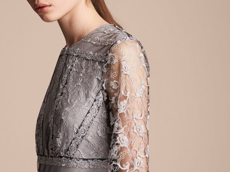 Floral Lace Tulle Dress in Silver - Women | Burberry - cell image 4