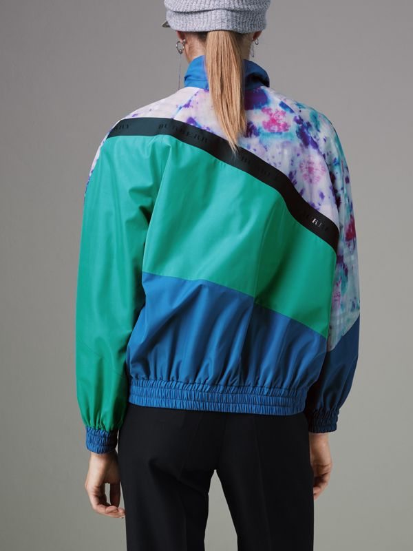 Tie-dye Silk Shell Suit Jacket in Turquoise - Women | Burberry United Kingdom - cell image 2