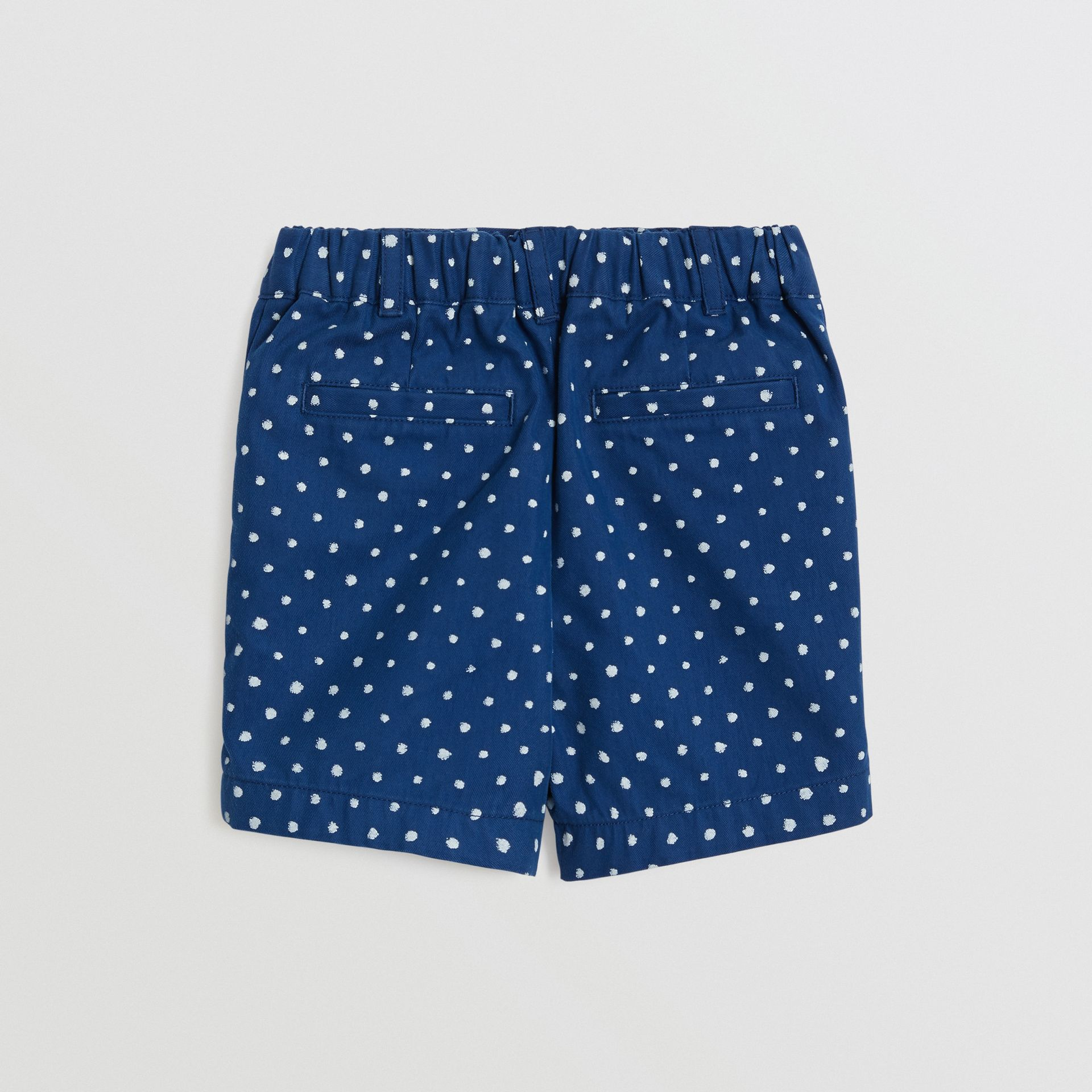 Spot Print Cotton Blend Shorts in Bright Navy - Children | Burberry Canada - gallery image 3