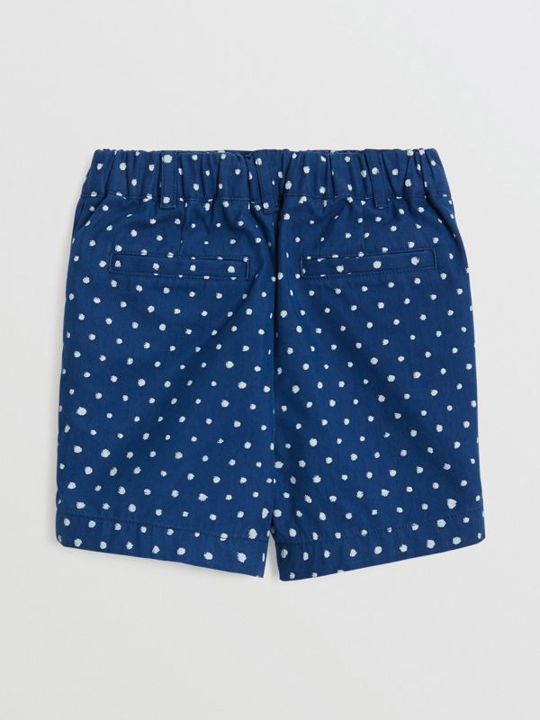 Spot Print Cotton Blend Shorts in Bright Navy - Children | Burberry - cell image 3