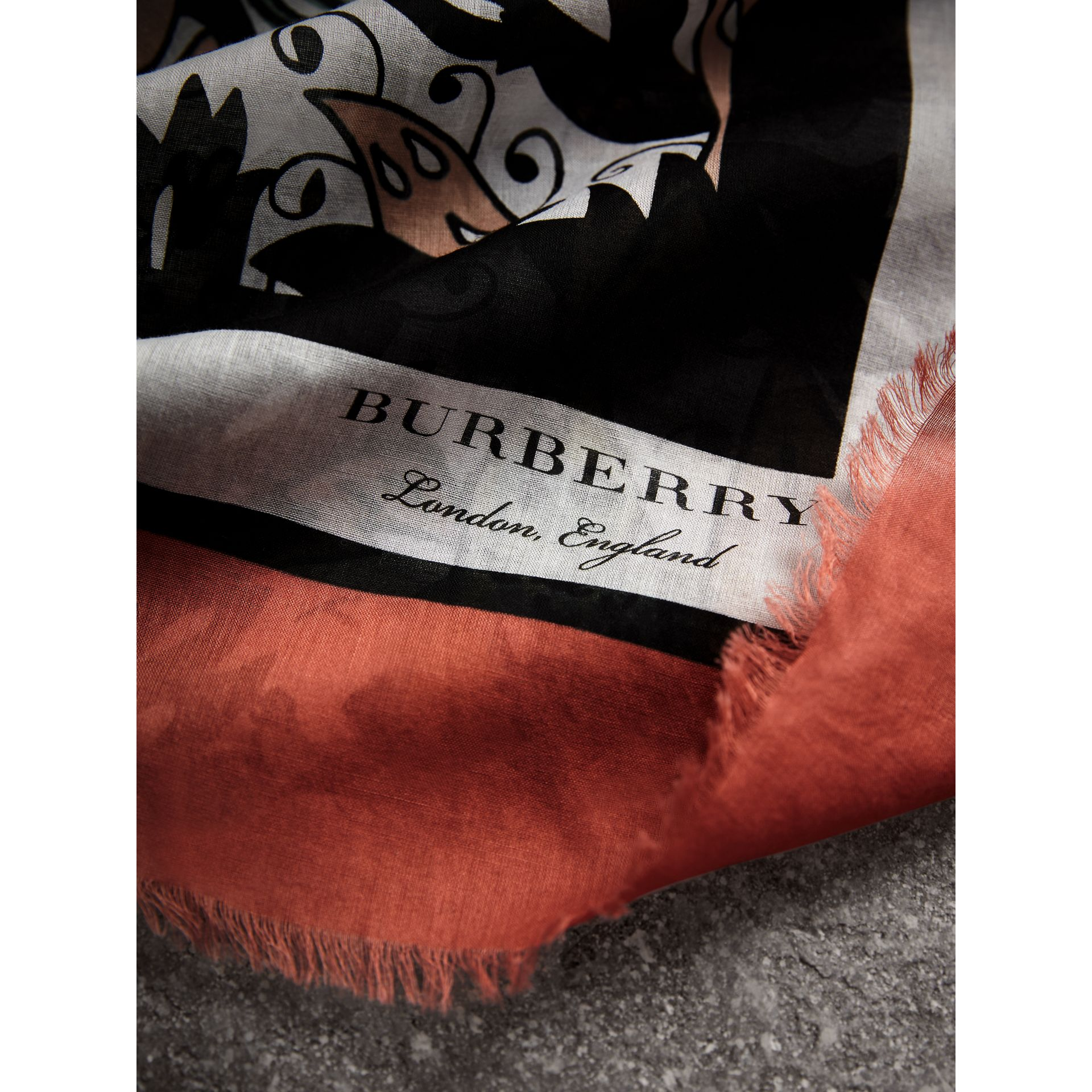 Beasts Print Lightweight Cotton Scarf in Antique Taupe Pink - Women | Burberry - gallery image 2