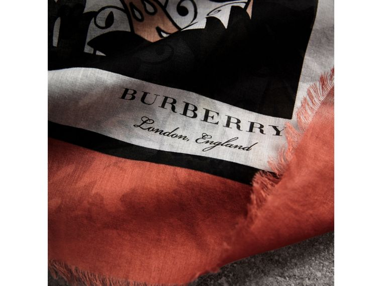 Beasts Print Lightweight Cotton Scarf in Antique Taupe Pink - Women | Burberry - cell image 1