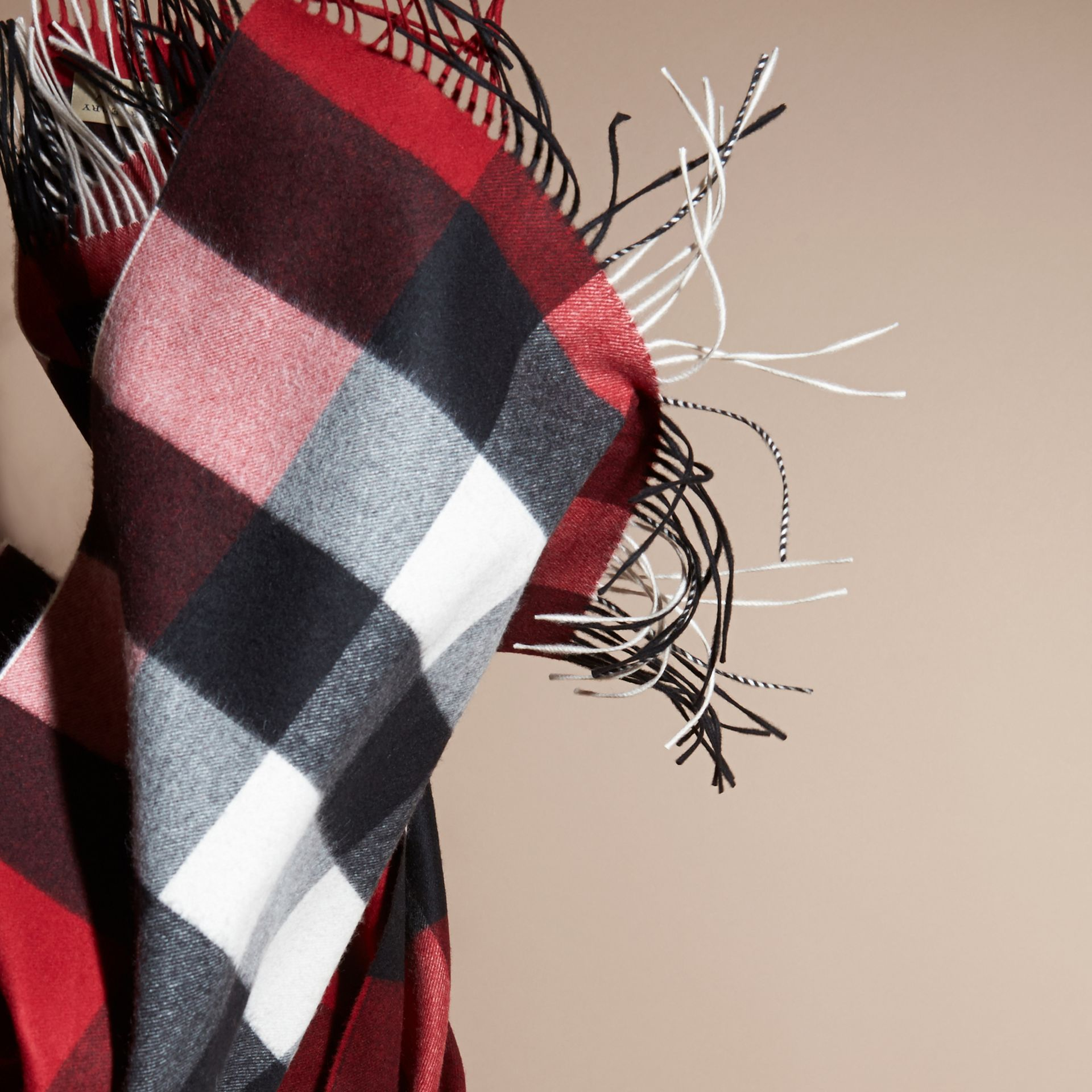 Oversize Check Cashmere Scarf in Parade Red - gallery image 5