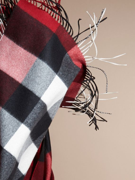 Parade red Oversize Check Cashmere Scarf Parade Red - cell image 3
