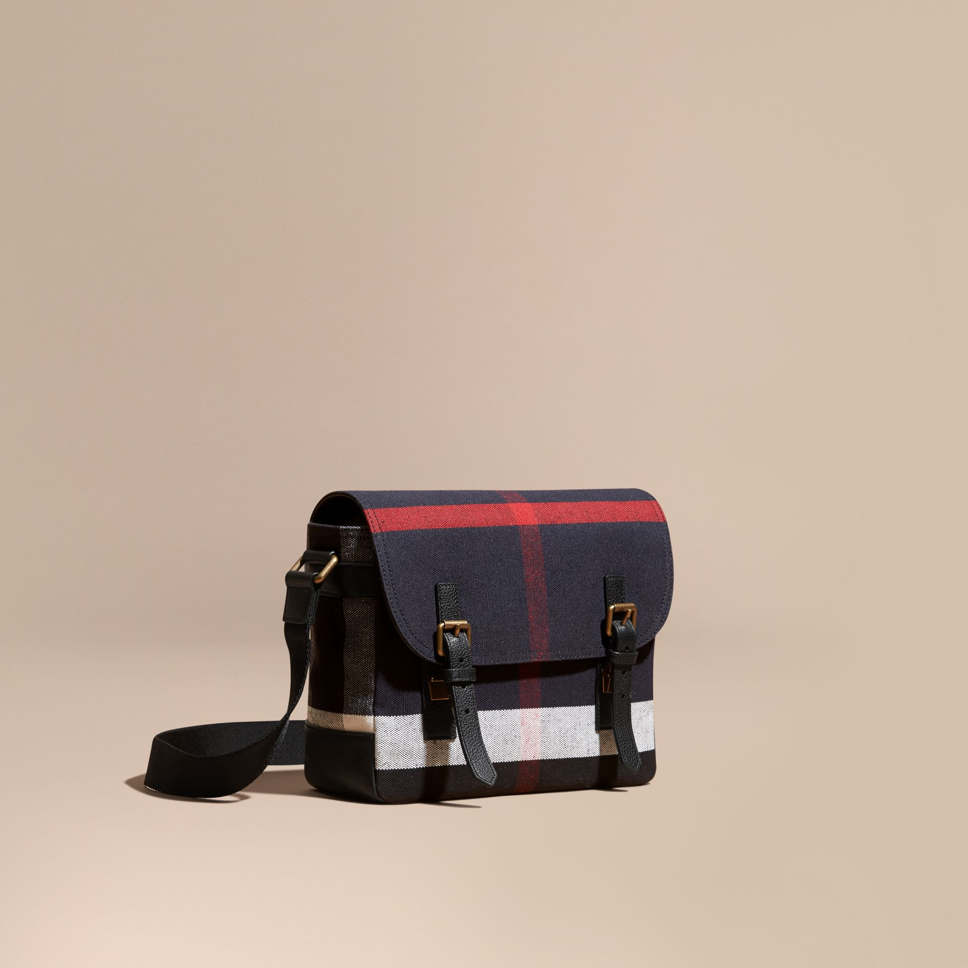 Leather Trim Canvas Check Messenger Bag - gallery image 1