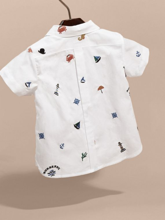Embroidered Nautical Motif Cotton Oxford Shirt in White | Burberry - cell image 3