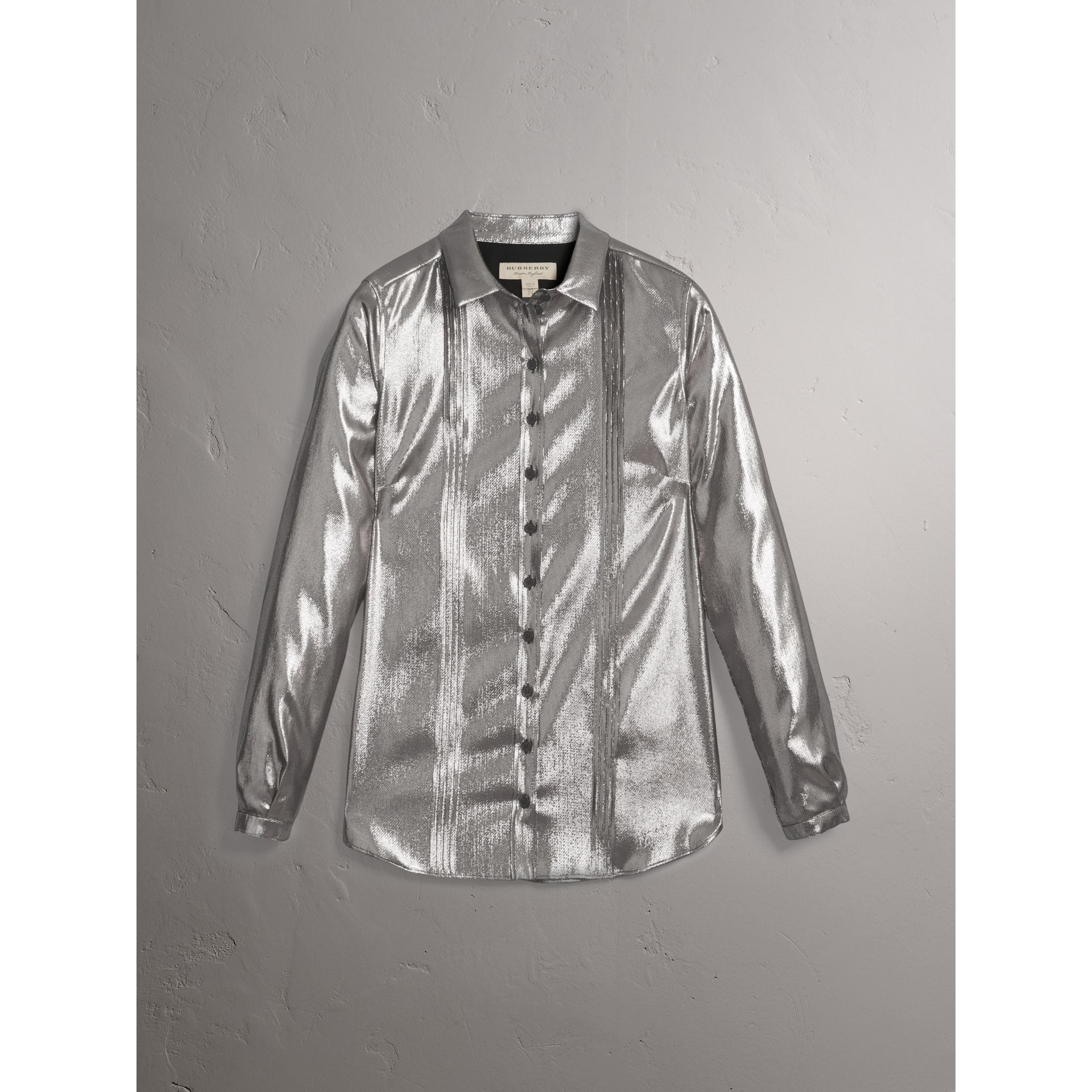 Pintuck Detail Silk Lamé Shirt in Silver - Women | Burberry - gallery image 4