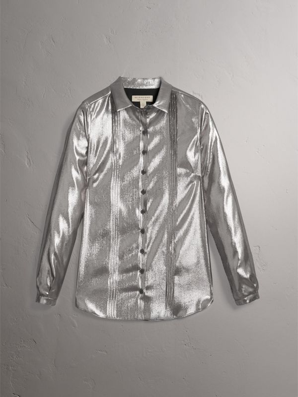 Pintuck Detail Silk Lamé Shirt in Silver - Women | Burberry - cell image 3