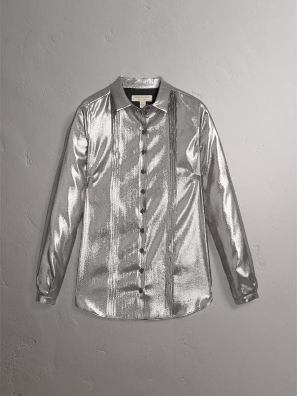 Camicia in seta e lamé con plissettatura (Argento) - Donna | Burberry - cell image 3