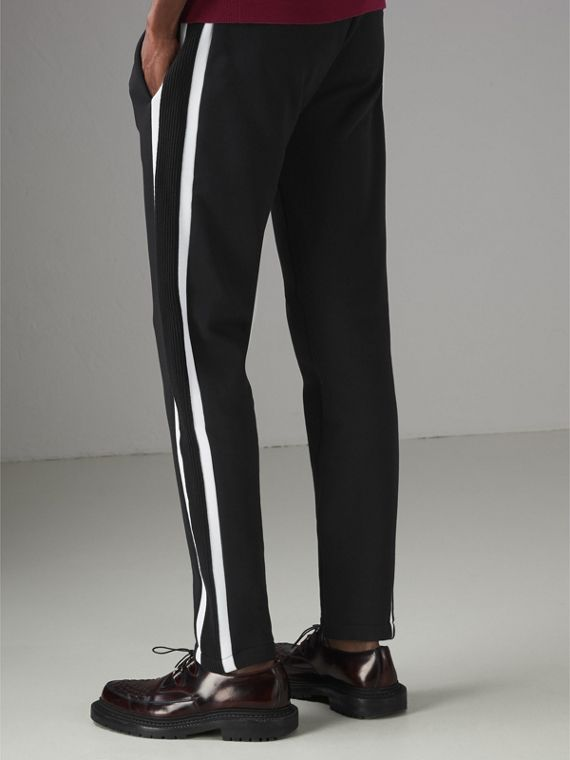Stripe Detail Cotton Blend Jersey Sweatpants in Black - Men | Burberry United Kingdom - cell image 2