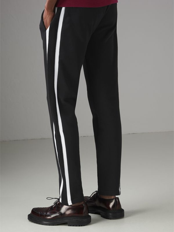 Stripe Detail Cotton Blend Jersey Sweatpants in Black - Men | Burberry United States - cell image 2