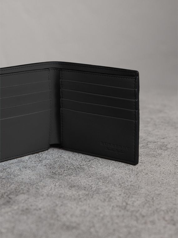 Embossed Leather International Bifold Wallet in Neon Blue - Men | Burberry - cell image 3