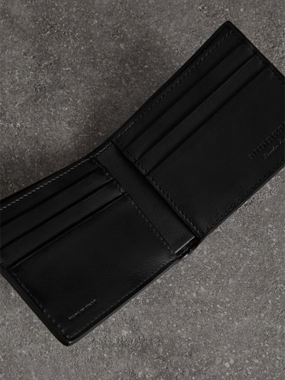 Embossed Leather Bifold Wallet in Neon Blue - Men | Burberry United States - cell image 2