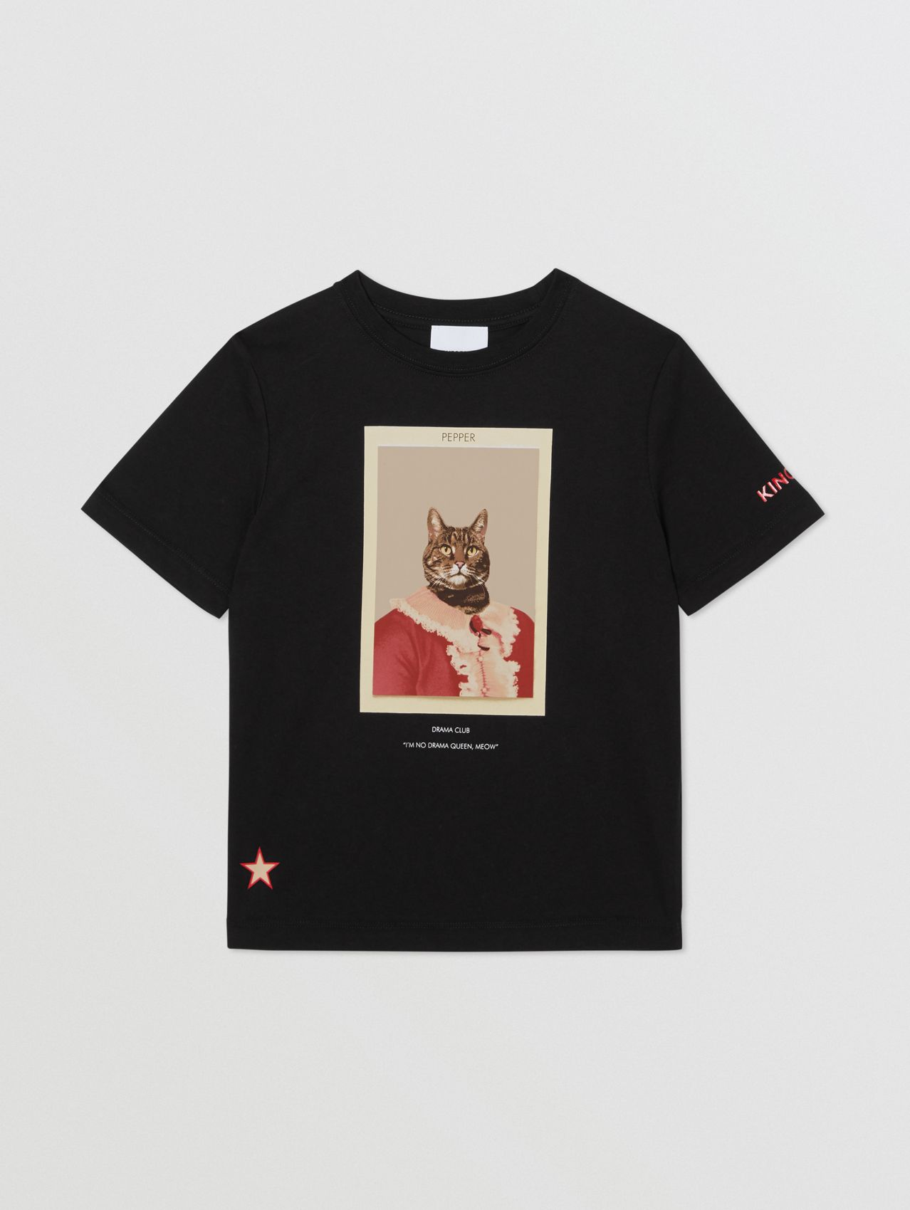 Character Print Cotton T-shirt in Black