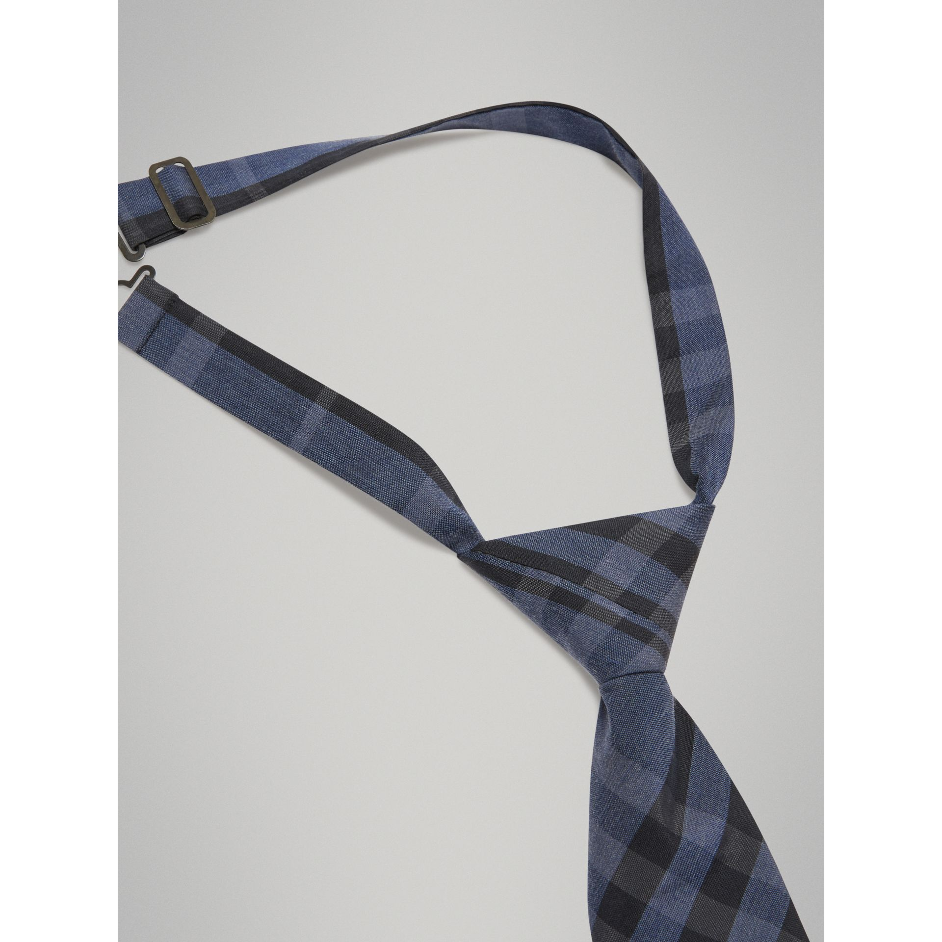 Modern Cut Check Silk Cotton Tie in Dark Mineral Blue - Boy | Burberry - gallery image 2