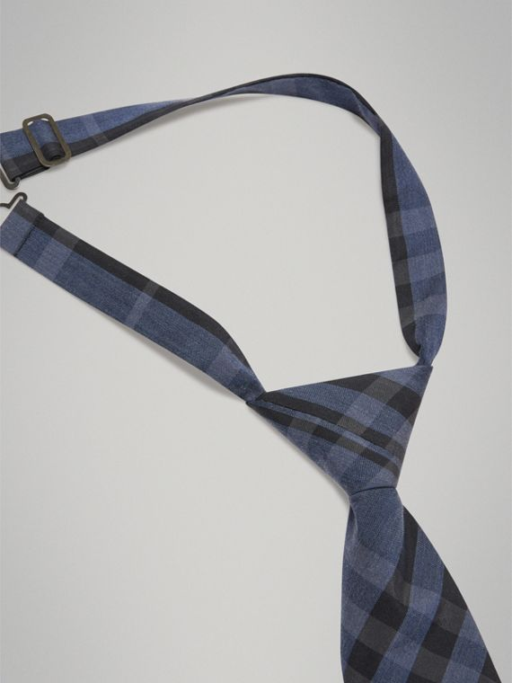 Modern Cut Check Silk Cotton Tie in Dark Mineral Blue - Boy | Burberry - cell image 2