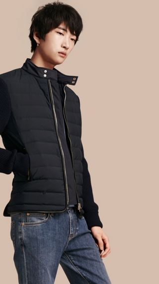 Down-Filled Jacket with Knitted Sleeves