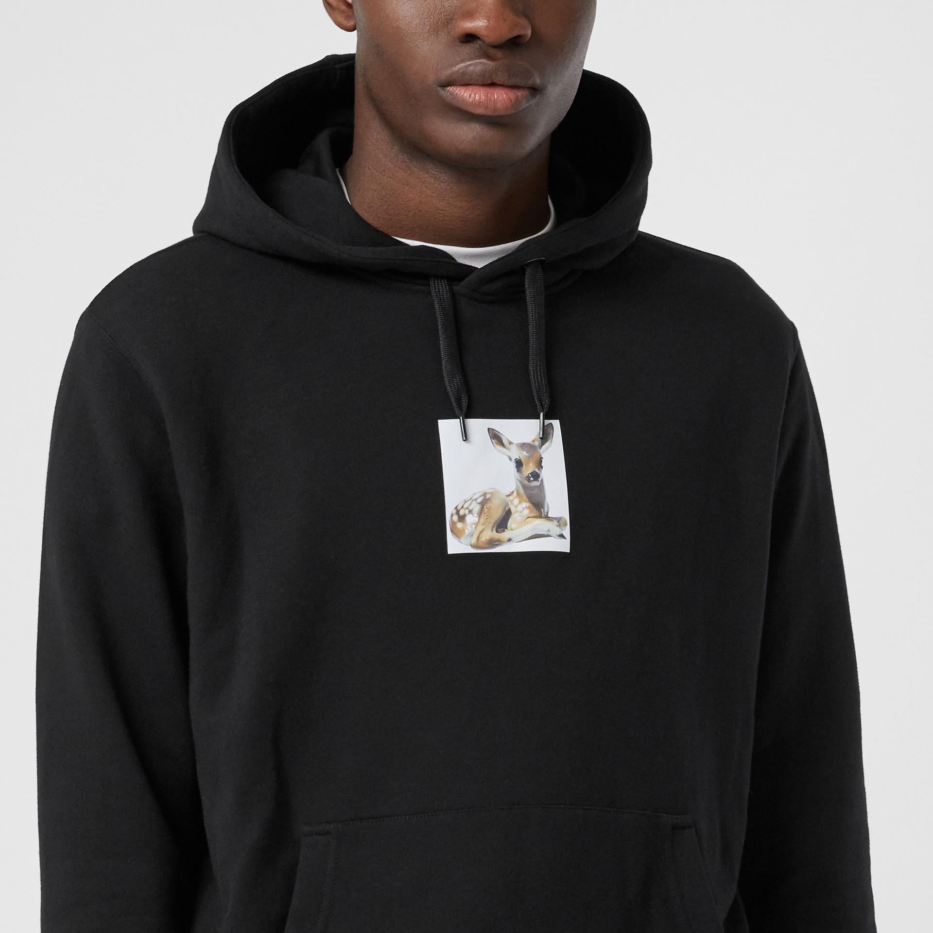 Deer Print Cotton Hoodie in Black - Men | Burberry Australia - gallery image 1