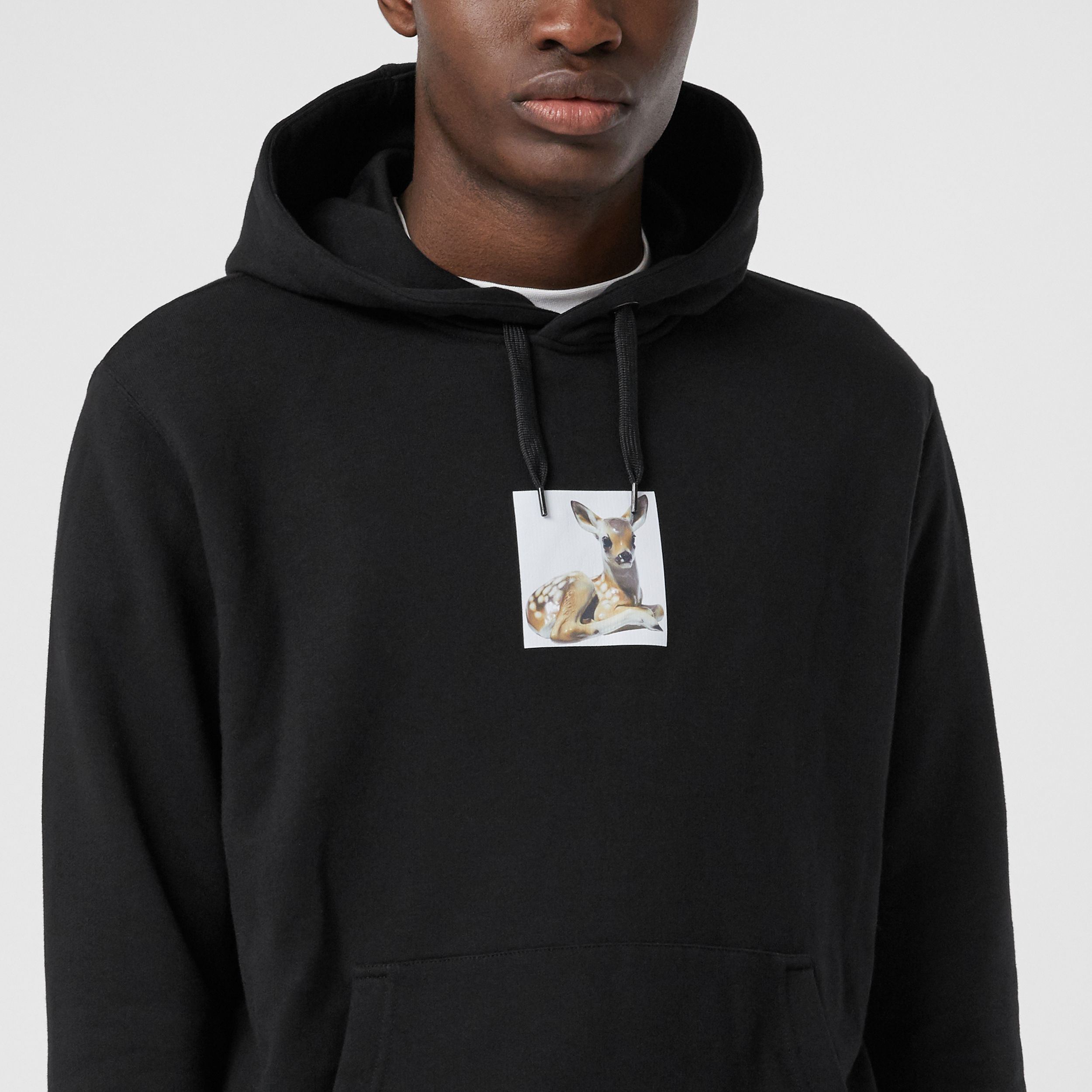 Deer Print Cotton Hoodie in Black - Men | Burberry United Kingdom - 2