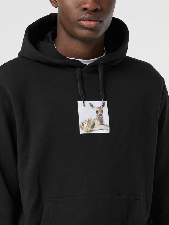 Deer Print Cotton Hoodie in Black - Men | Burberry Australia - cell image 1