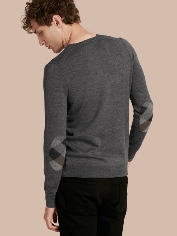 Check Elbow Detail Wool Sweater Mid Grey Melange