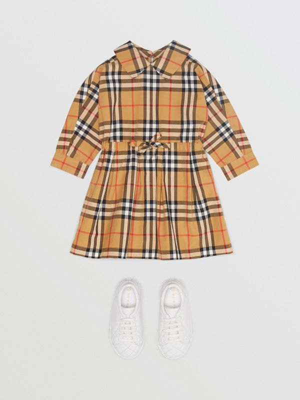 Vintage Check Cotton Drawcord Dress in Antique Yellow - Children | Burberry - cell image 2
