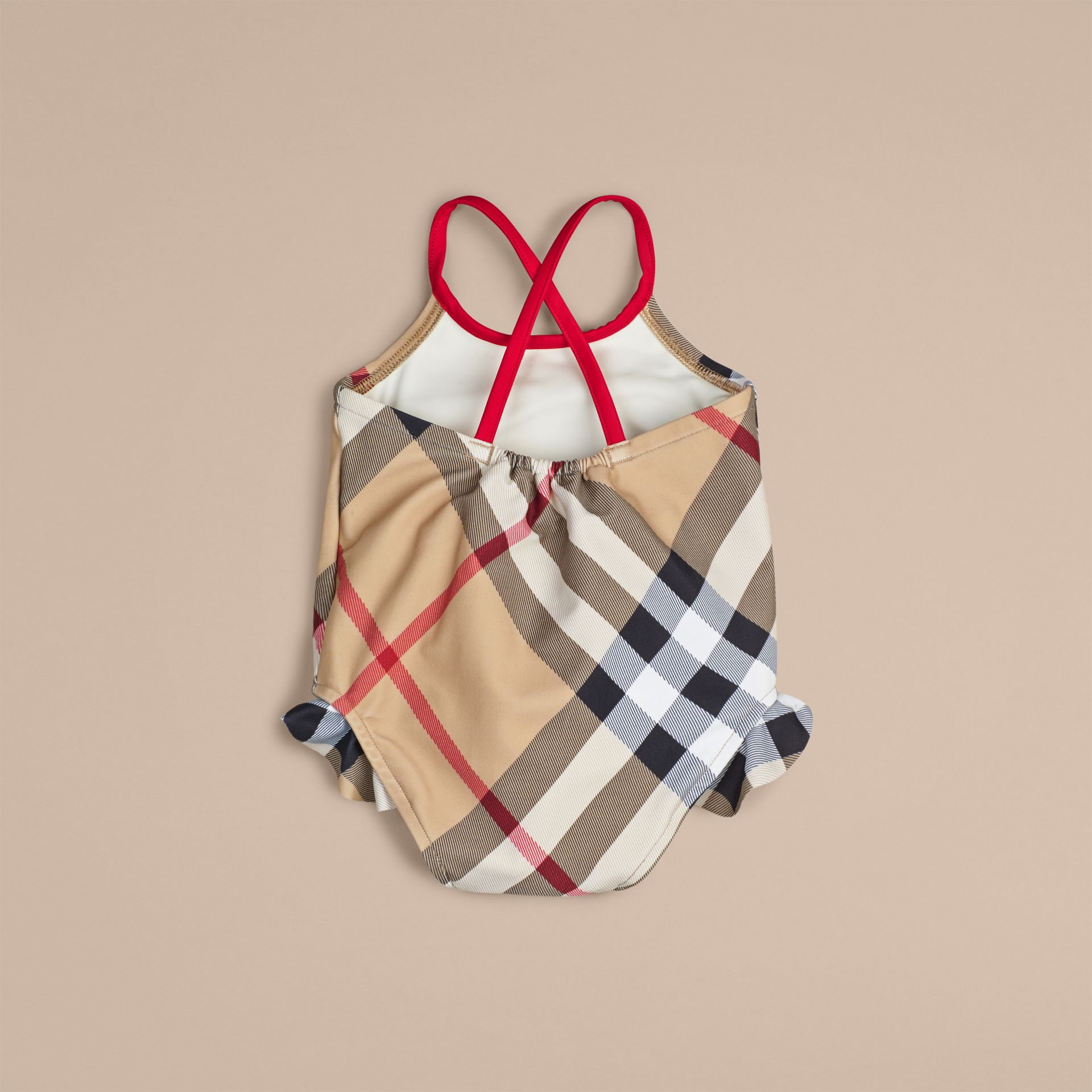 Check One-piece Swimsuit in New Classic | Burberry - gallery image 2