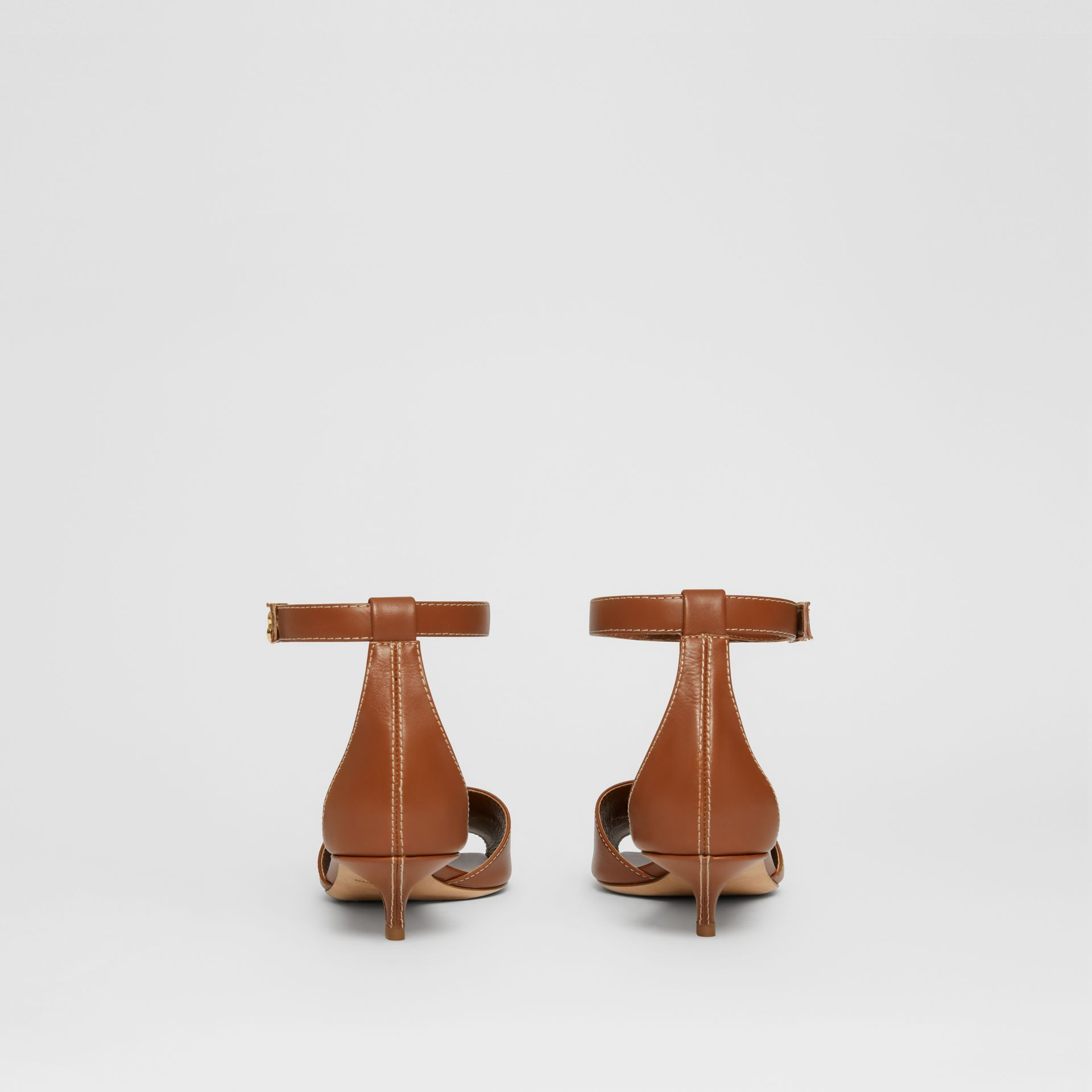 Monogram Motif Leather Kitten-heel Sandals in Tan - Women | Burberry - gallery image 4
