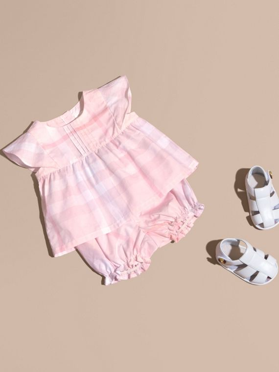 Check Cotton Pin Pleat Top and Bloomers in Ice Pink