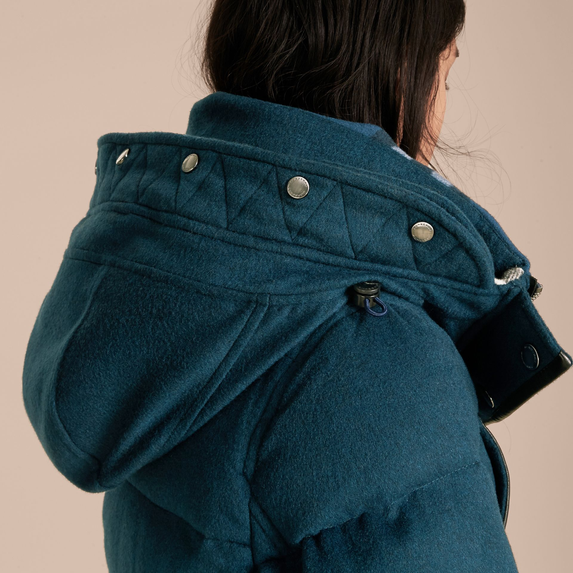 Down-filled Cashmere Coat with Detachable Fur Trim Mineral Blue - gallery image 2