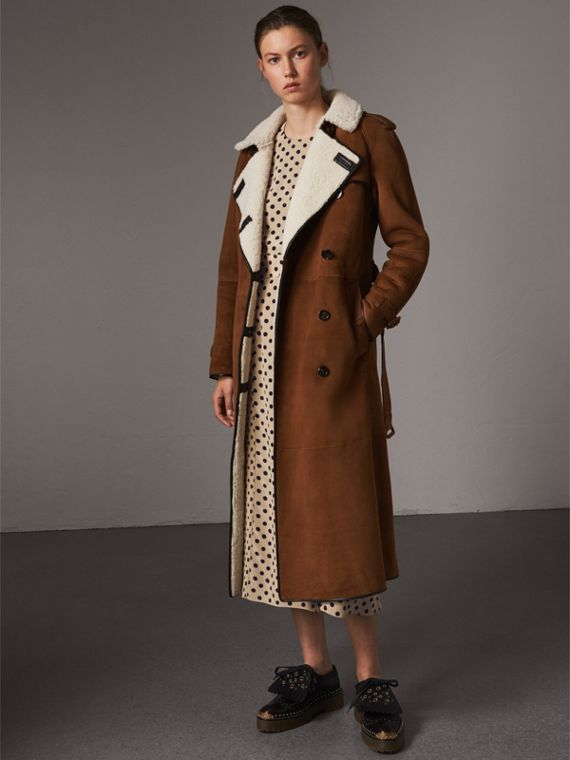Raglan-sleeve Suede and Shearling Trench Coat in Ecru