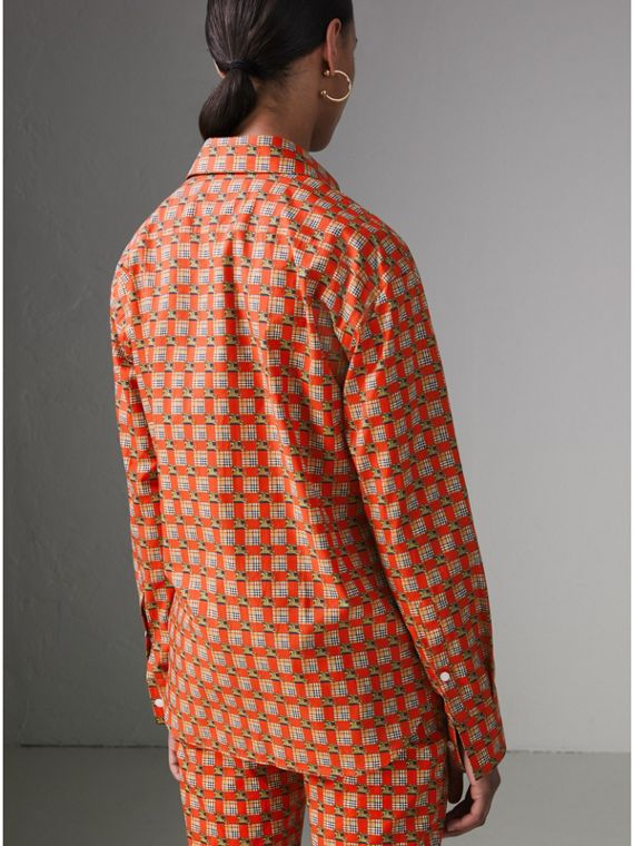 Tiled Archive Print Cotton Shirt in Bright Red - Women | Burberry Canada - cell image 2