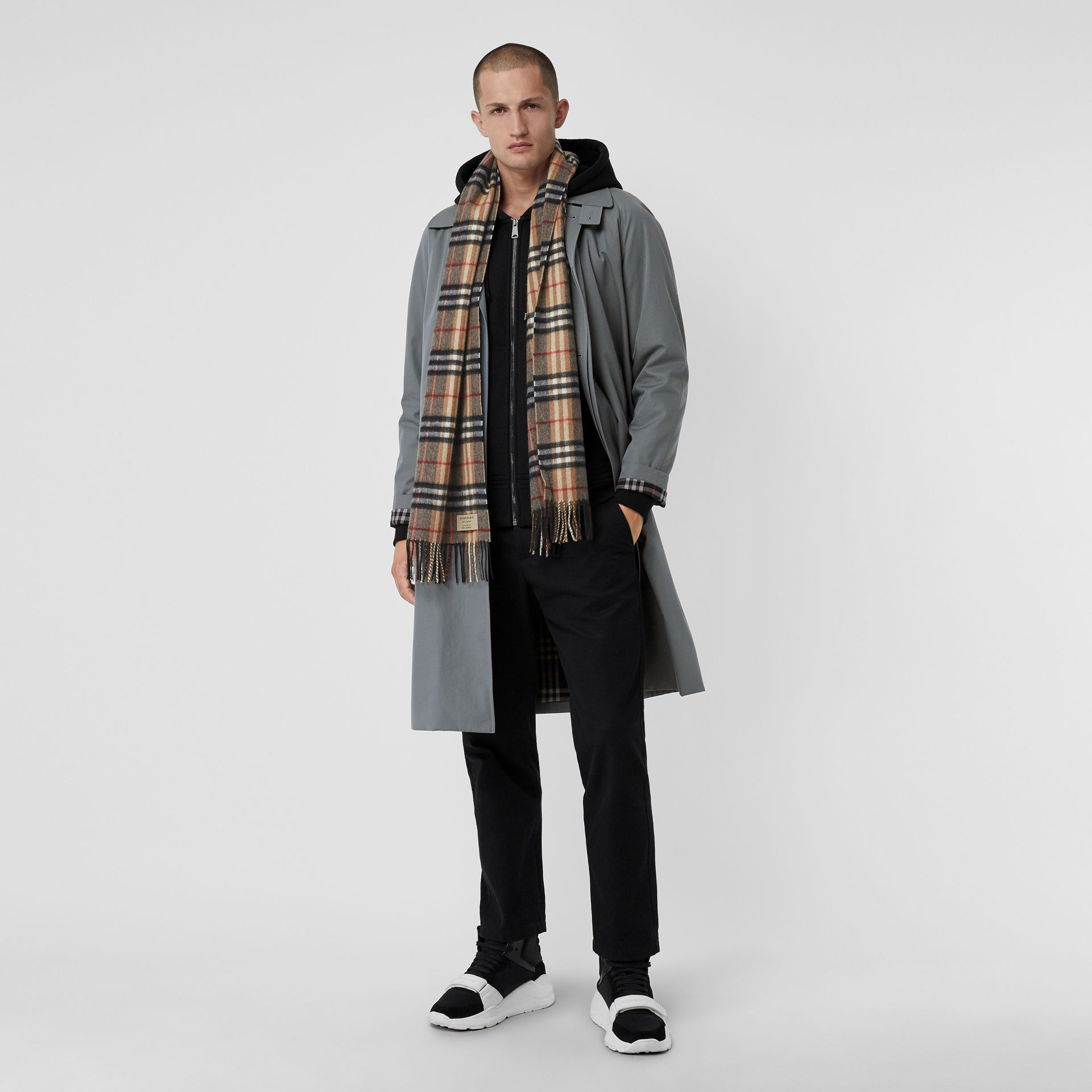 Check Cashmere Scarf in Camel | Burberry United States - gallery image 3