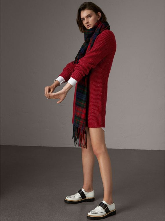 Rib Knit Wool Cashmere Mohair Sweater Dress in Coral Red