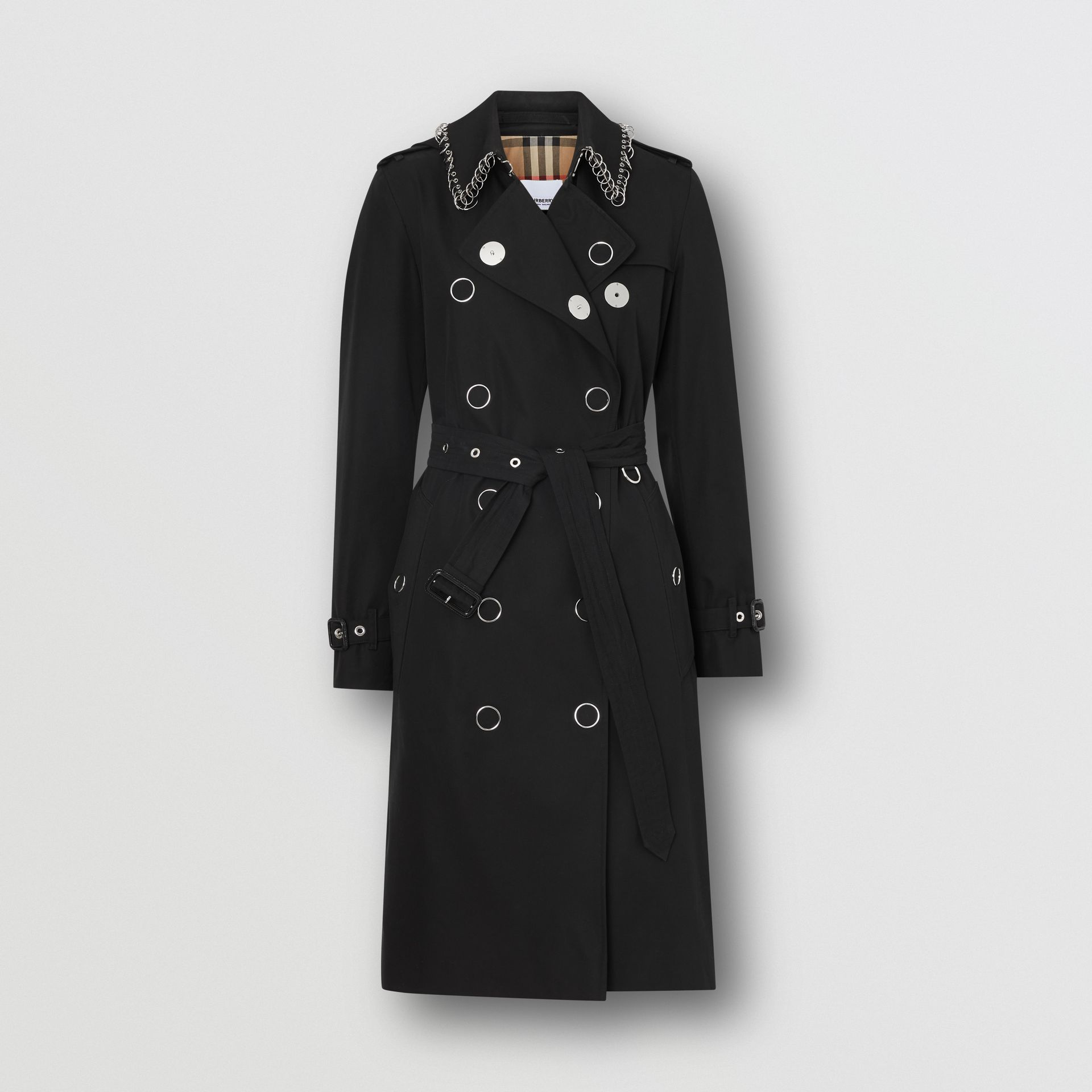 Ring-pierced Cotton Gabardine Trench Coat in Black - Women | Burberry - gallery image 3