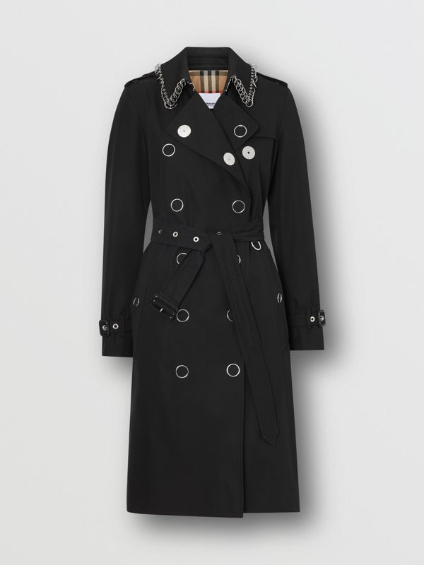 Ring-pierced Cotton Gabardine Trench Coat in Black - Women | Burberry - cell image 3