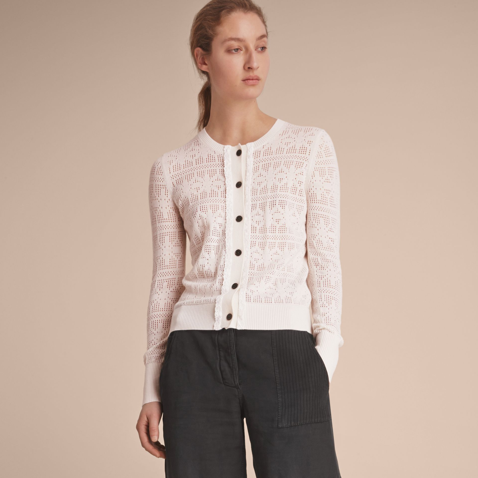 Lace Trim Knitted Wool and Cashmere Cardigan - gallery image 6