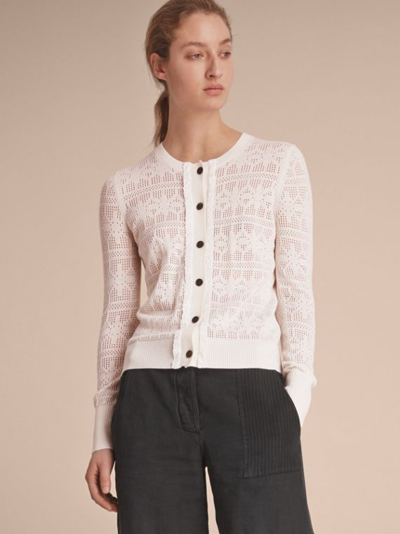 Lace Trim Knitted Wool and Cashmere Cardigan