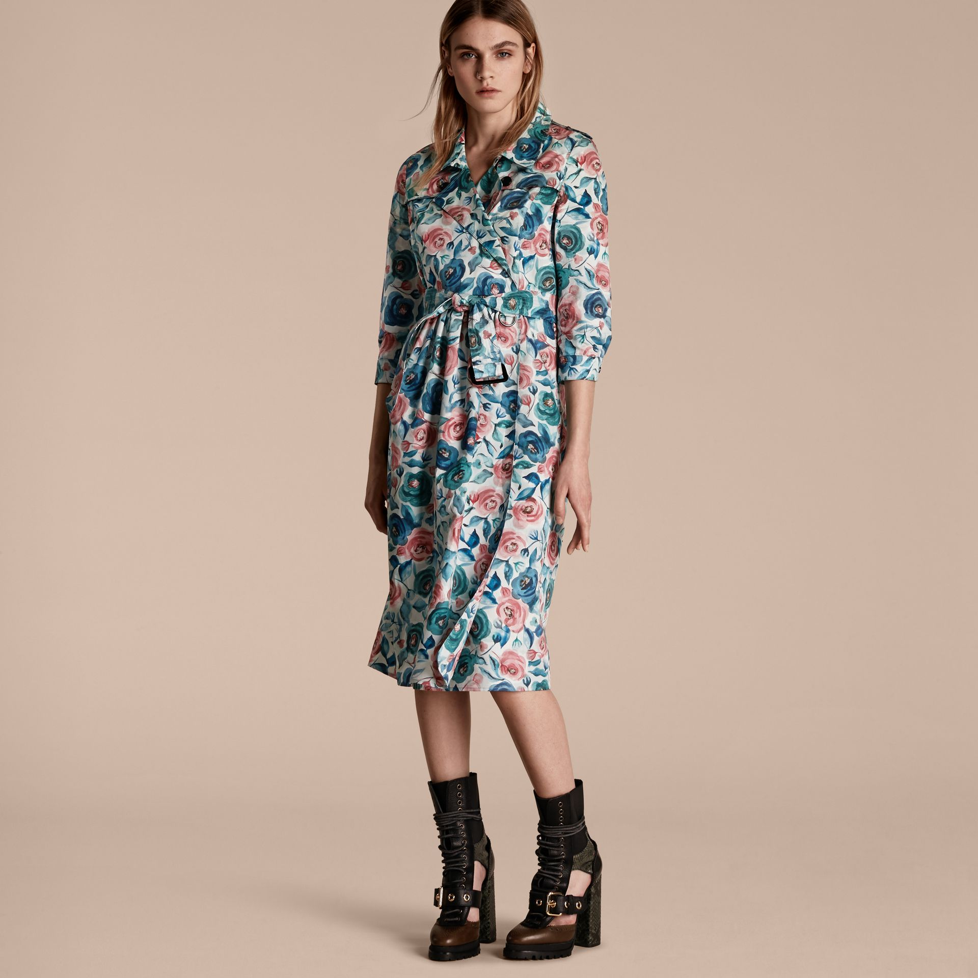 Teal blue Watercolour Rose Print Cotton Silk Trench Dress - gallery image 6