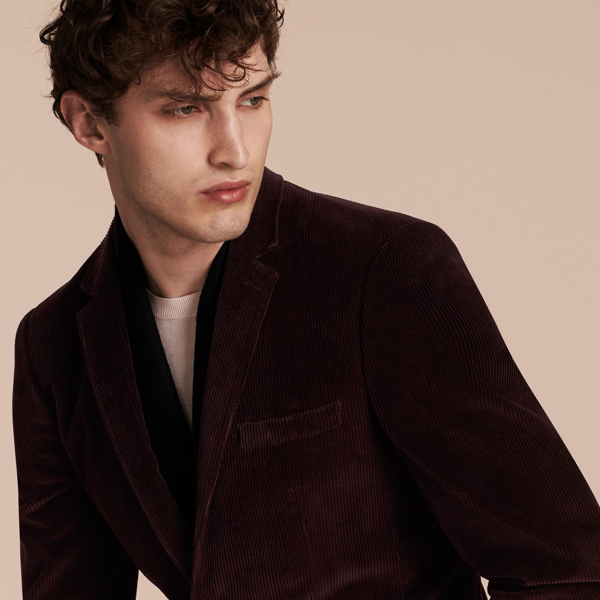 Violet indigo Veste de costume slim en coton côtelé - photo de la galerie 5