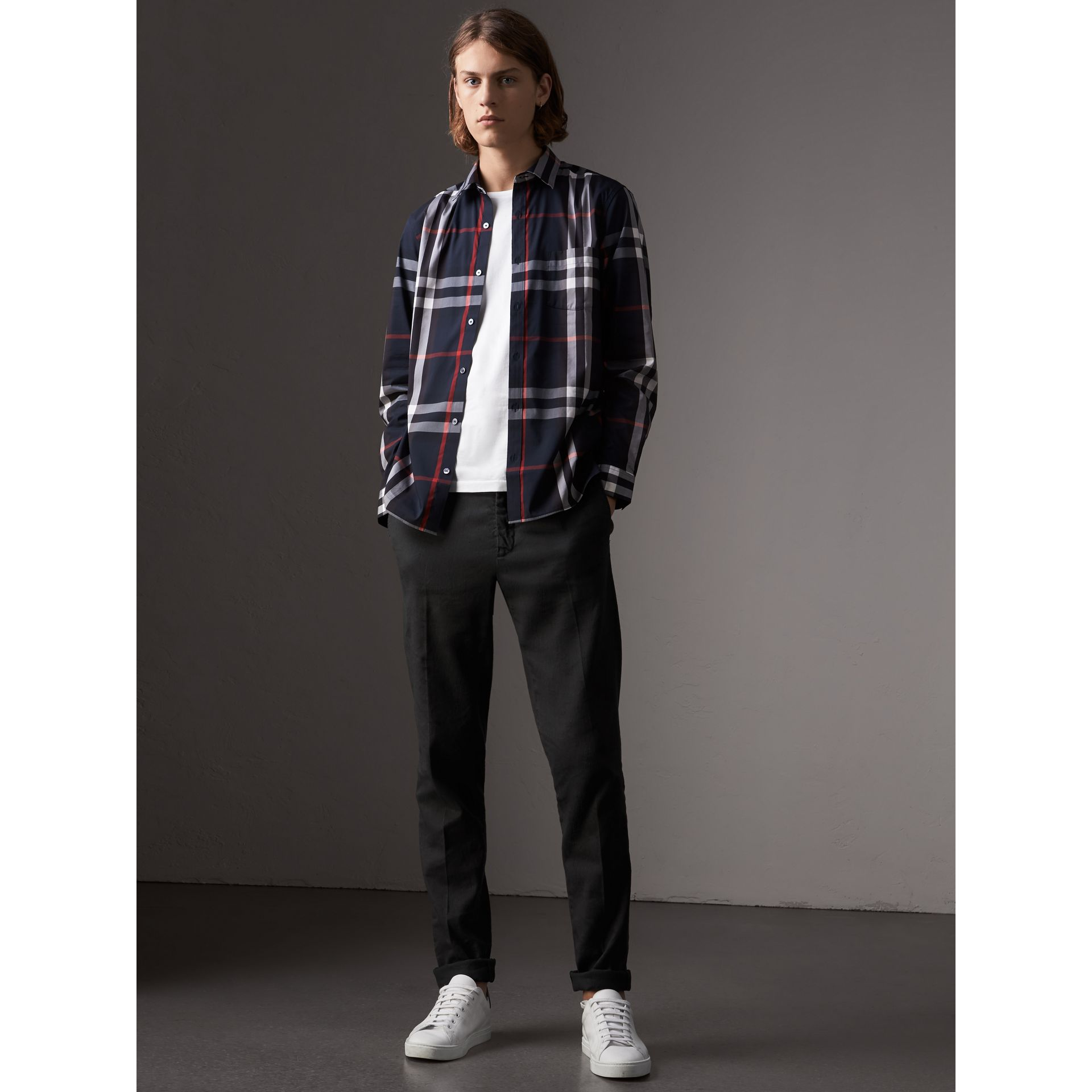 Check Stretch Cotton Shirt in Navy - Men | Burberry Canada - gallery image 5