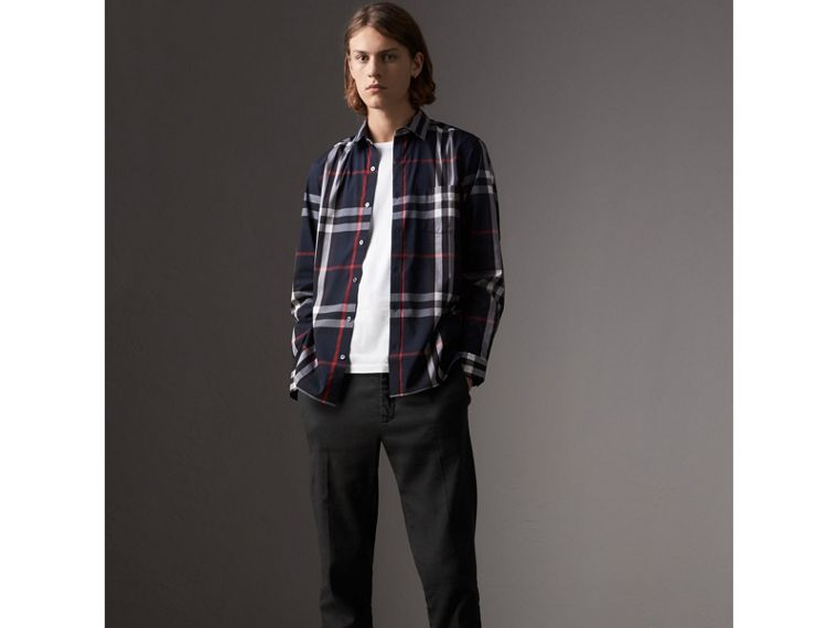 Check Stretch Cotton Shirt in Navy - Men | Burberry Canada - cell image 4