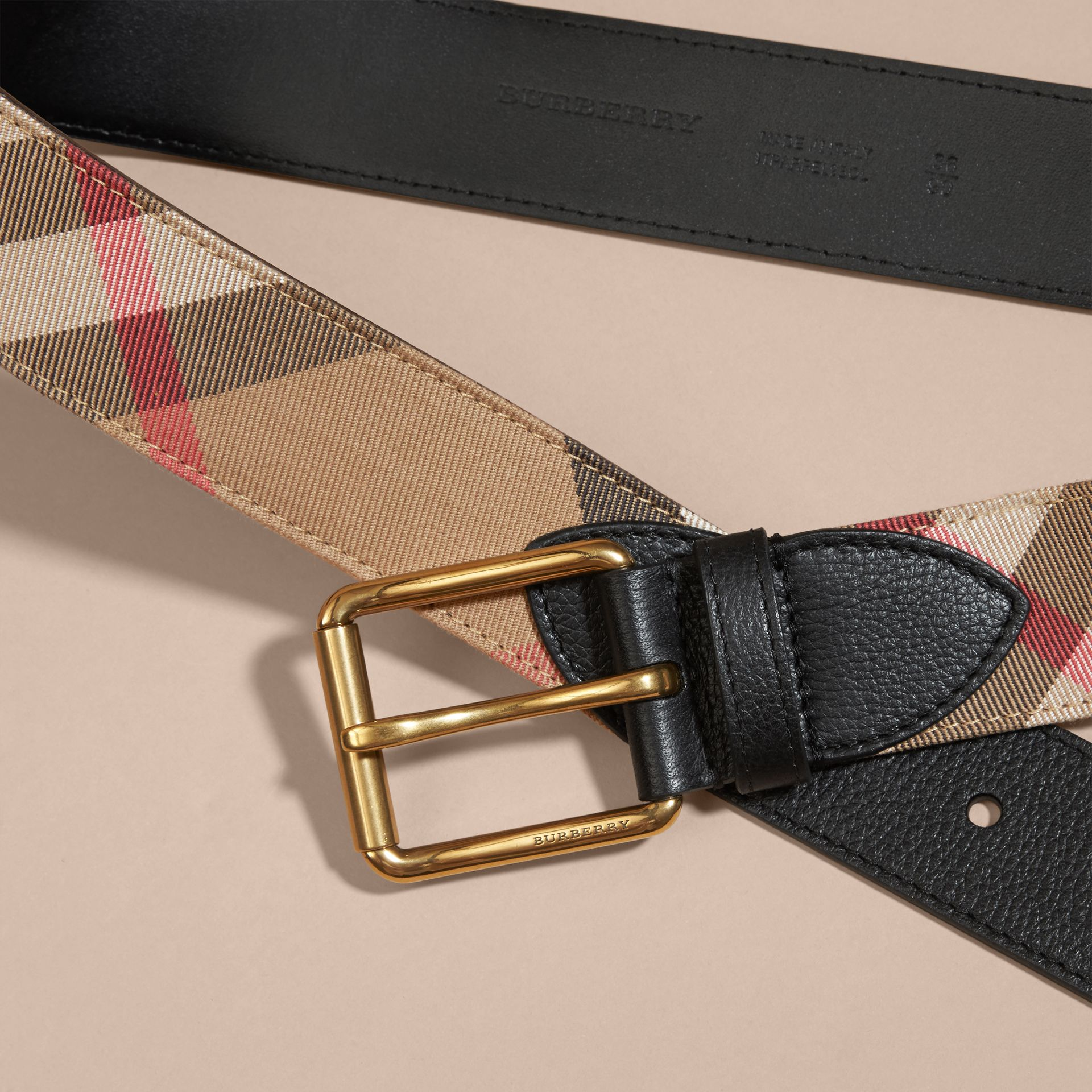 House Check and Leather Belt in Black - Men | Burberry - gallery image 2
