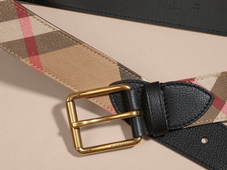 House Check and Leather Belt in Black - Men | Burberry - cell image 1