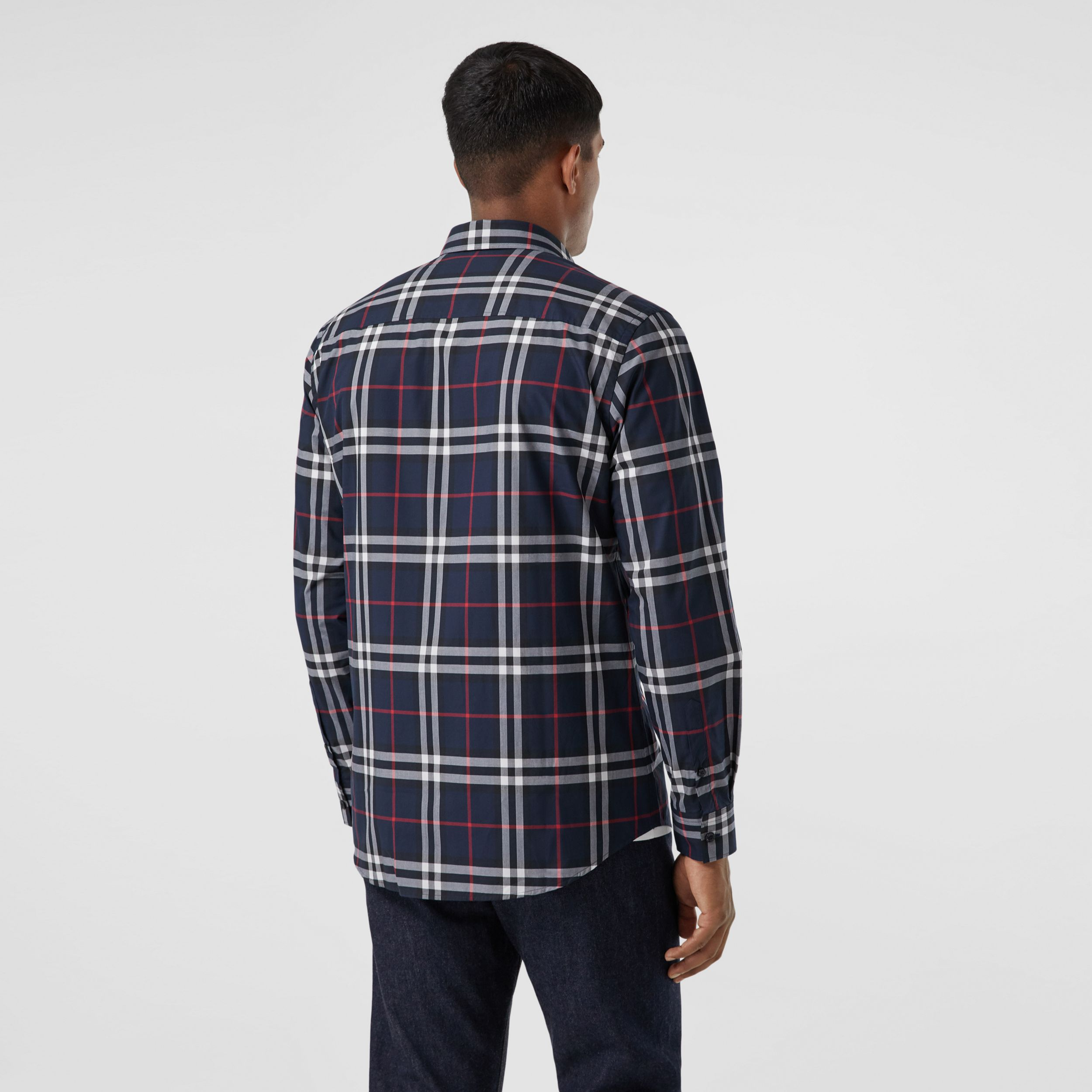 Check Cotton Poplin Shirt in Navy - Men | Burberry - 3