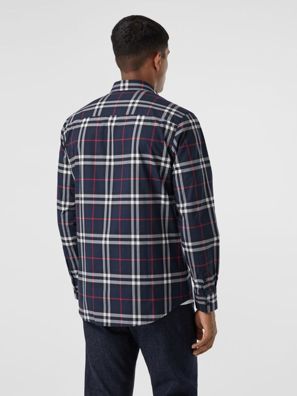 Check Cotton Poplin Shirt in Navy - Men | Burberry Australia - cell image 2