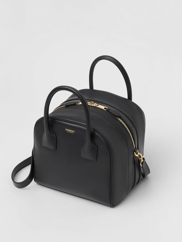 Small Leather Cube Bag in Black