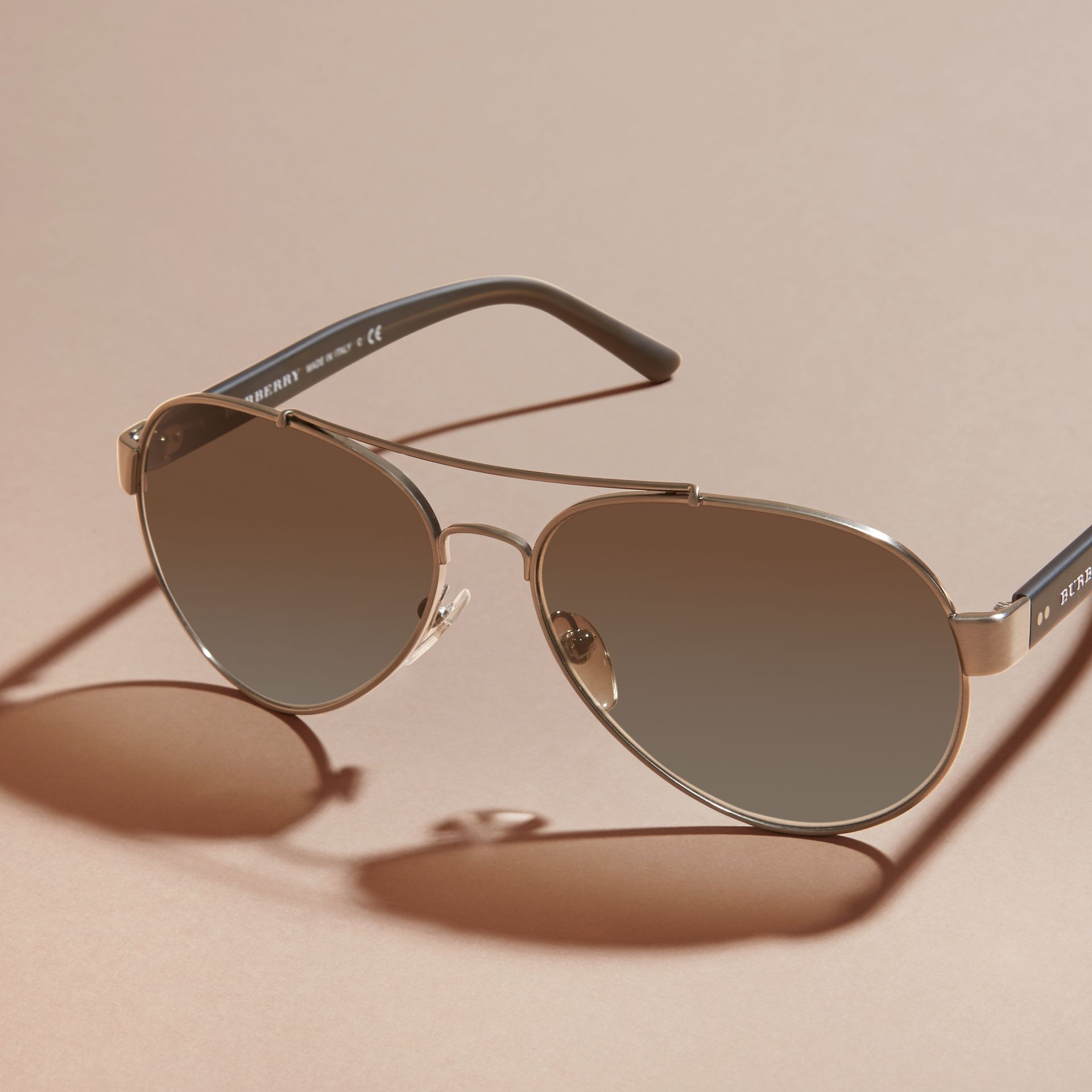 Pilot Sunglasses in Brushed Steel - Men | Burberry - gallery image 3