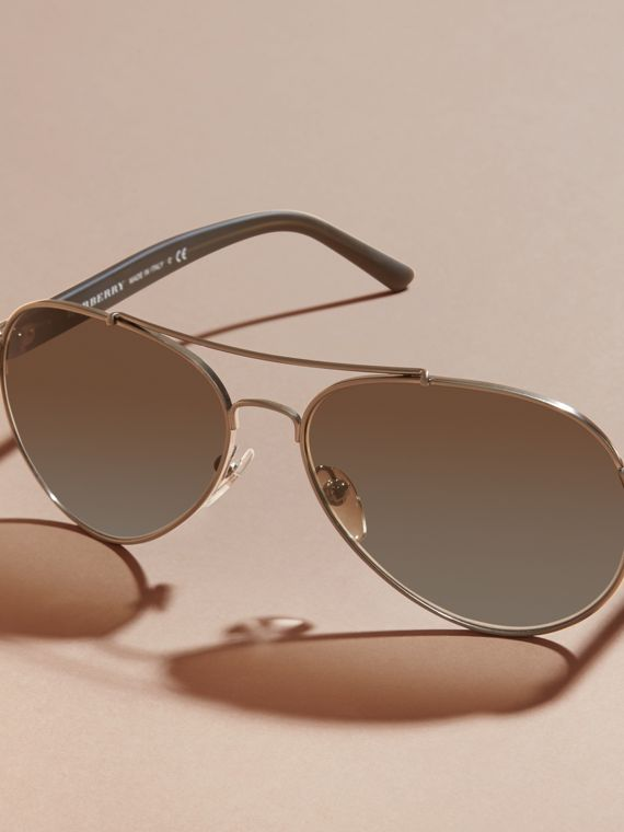 Pilot Sunglasses in Brushed Steel - Men | Burberry - cell image 2